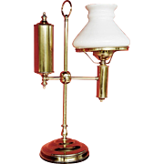 Old Brass Student Lamp with White Glass Shade