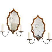 Pair Mahogany Veneer Sconces with Leaf-Form Mirrored Back Plates. Early 19th C