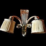 Single Art Deco Wall Sconce of Chromed Metal & Cut Crystal