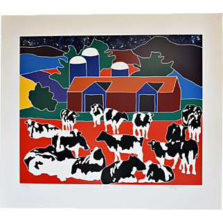 """Milky Way"": A 1984 Woodblock of a Starry Sky, Colorful Barn & Black/White Holsteins, signed by the Artist, Woody Jackson"