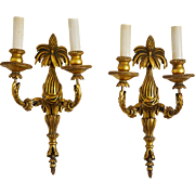 Pair 19th Century French Carved Giltwood Two Armed Sconces