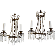 Pair Antique French Mid-19th C. Bronze and Crystal Sconces