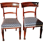 Antique Pair William IV Mahogany Armless Dining Chairs c.1840