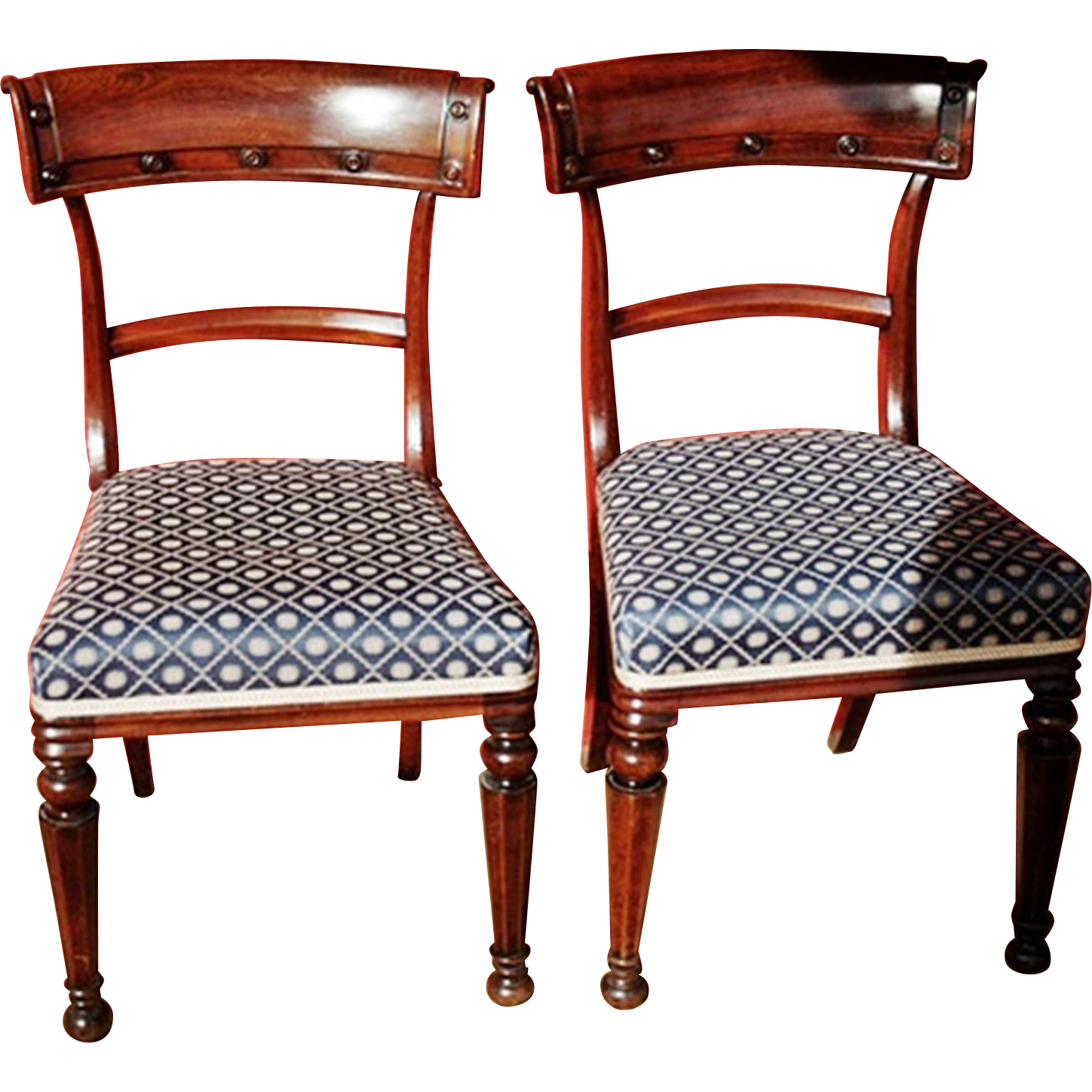Antique Pair William IV Mahogany Armless Dining Chairs C