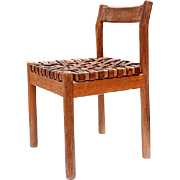 Mexican Mid-Century Modern Wooden Side Chair with Strap Leather Seat