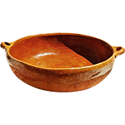 Vintage 1970'S Rustic Mexican Cazuela Bowl with Integrated Handles