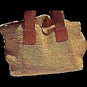 Vintage Helen Kaminski Straw Bag with Soft Leather Handles