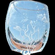 Vintage 'Fish in the Sea' Etched Crystal Vase