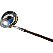 Early George III Sterling Punch Ladle with Turned Mahogany Handle
