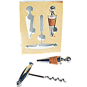 Vintage Weighted Bar Set Includes One Corkscrew & Two Conical Bottle Stoppers