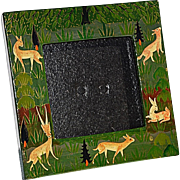 Charming Hand-Painted Picture Frame of Antelope & Grasses from Kashmir