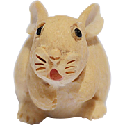 Vintage Carved & Hand-Painted Scottish Wooden Bunny, 1983