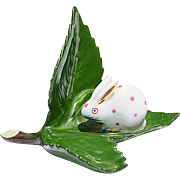 Pink & White Herend Bunny On Shiny Green Leaf Place Card Holder