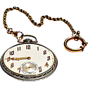"1923 Illinois Watch Co. White Gold ""Railroad Style"" Pocket Watch, Chain & Wooden Stand"