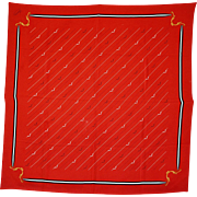 A Vintage Gucci Bright Red Silk Shoulder Scarf