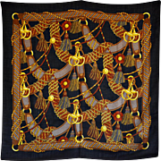 A Bold & Impactful Black and Gold Cotton 'Harness' Scarf