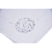 Exceptional Vintage Linen Hankie, Floral Embroidery Finely Stitched