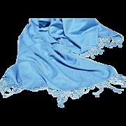 Pale Blue Pashmina Cashmere Shawl/Large Scarf with Knotted Fringe