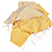 Luxurious Agnona Two-Sided Ochre-Buff Scarf, Made in Italy