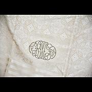 Exquisite Vintage Gentlemen's Formal Silk Damask Scarf, Beautifully Monogrammed