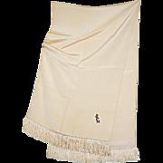 Distinguished Vintage Gentlemen's Formal Silk Dress Scarf with Monogram