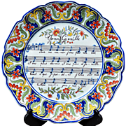 "Antique French Faience Music or 'Opera Plate' Marked ""Rouen 1702"""
