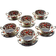 Vintage Aynsley 'Bird of Paradise' Cream Soup Service for Six