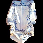 Vintage Set Blue Hedebo Hand-Embroidered Linen Tablecloth & 6 Napkins