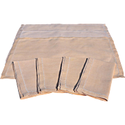 Vintage Hem-Stitched Buff Table Linen Set – 4 Napkins, 3 Placemats