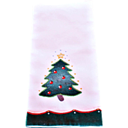 Vintage Cotton Hand Towel Features a Decorated Christmas Tree