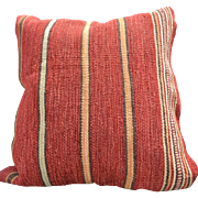 """REDUCED Softly Textured 24"""" Square Pillow, Barn Red Fabric with Gold, Green & White Stripes"""