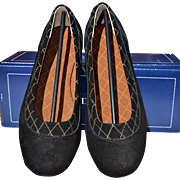 Women's Black Suede Dory Ballet Flat with Waterproof Soles from Lands' End