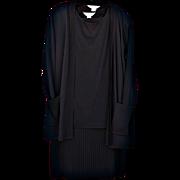 A Three Piece Black Misook Layered Ensemble: Matching Pleated Skirt, Long Tank, Long Cardigan