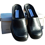 Women's Black Leather Slip-On Mule by Andre Assous