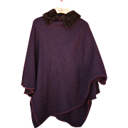 Fabulous Elena Miro 100% Wool Cape in Eggplant
