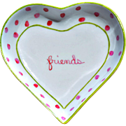 "Small Vintage Heart-Shaped Polka Dot ""friends"" Dish"