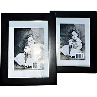 Pair of Modern, Clean-Lined Black Matte Wooden Picture Frames