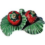 Vintage Ceramic Salt & Pepper Set as Strawberries Nesting on Green Leaves Base