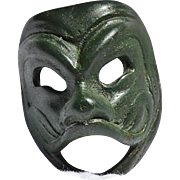 Vintage Miniature Venetian Laughing Face Mask of Green Metal
