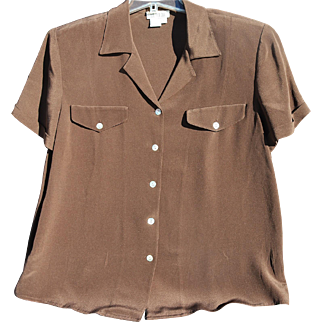 Vintage 100% Silk Short Sleeved Brown Blouse by Due Per Due
