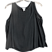 Eileen Fisher Rayon Black Sleeveless 'Crepe' Pullover Top