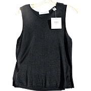 Valerie Stevens Vintage Black Rayon Knit Sleeveless Top