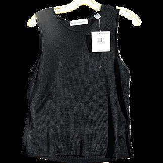 Valerie Stevens Vintage Black Rayon Knit Sleeveless Top