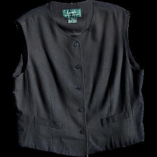 Vintage Black Pin-Striped Rayon/Wool Vest from Ralph Lauren