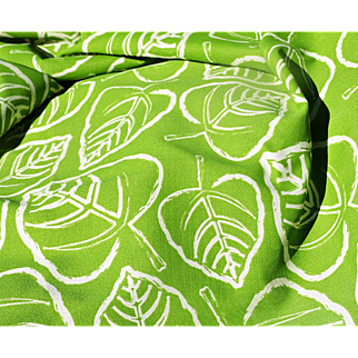 "A Bright Green & White Indoor-Outdoor Fabric Remnant called ""Leaf"" by Primier Prints, USA"