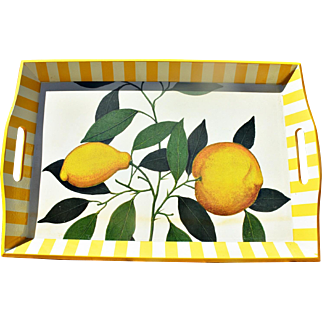 Designer Decoupage Tray with Lemons and Striped Edge