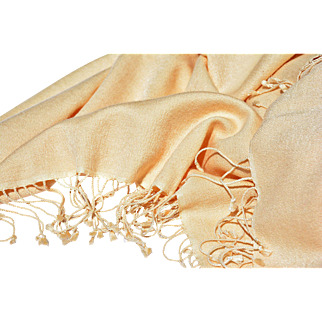 Large Pale Yellow Pashmina Shawl with Twisted Fringe from VS Collections