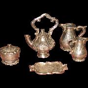 Miniature antique silver tea set for Dolls
