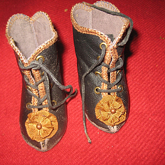 Antique French DOLL Boots  3 inch long