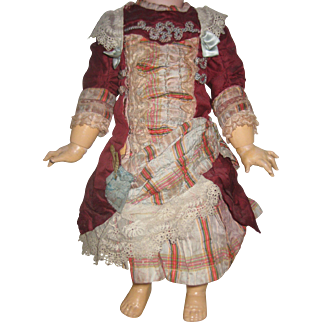 Antique  Silk Doll Dress.    14 inch-36 cm long